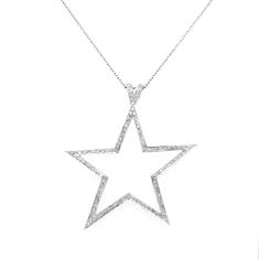 Grain Set Diamond Star Pendant