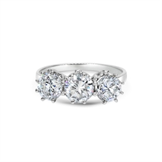 Three Stone Brilliant Cut Claw Set Diamond Engagement Ring