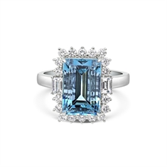 Aqua Octagon Brilliant Cut & Baguette Cut Diamond Cluster Ring