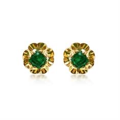 Octagon Emerald Scroll Ear Studs