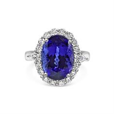 Tanzanite Claw Set Oval Custer Dress Ring