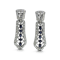 Vintage Style Sapphire  & Diamond Drop Earrings