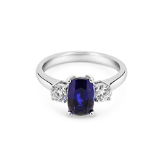 Claw Set Cushion Cut Sapphire & Diamond Engagement Ring