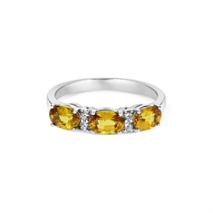 Oval Yellow Sapphire & Diamond Half Eternity Ring