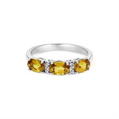 Oval Yellow Sapphire & Diamond Half Eternity Ring