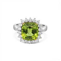 Claw Set Cushion Cut Peridot & Brilliant Cut Diamond Cluster Ring
