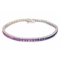 Princess Cut Channel Set Rainbow Sapphire Bracelet 7.08ct