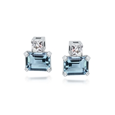 Octagon Aqua & French Cut Diamond Studs