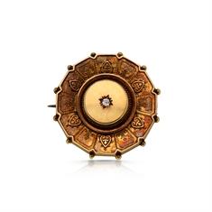 Victorian 15ct Yellow Gold & Diamond Circle Brooch