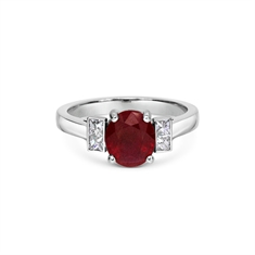 Oval Ruby & Princess Cut Diamond Engagement Ring