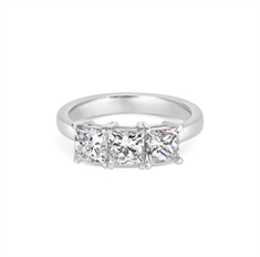 Princess Cut Claw Set Three Stone Engagement Ring 2.13ct