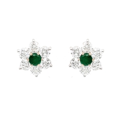 Emerald & Diamond Flower Cluster Stud Earrings
