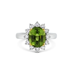 Oval Peridot & Brilliant Cut Diamond Claw Set Cluster Ring