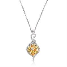 Fancy Yellow Brilliant Cut Diamond Cluster Pendant
