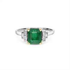 Emerald Octagon & Baguette Cut Diamond Engagement Ring