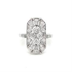 Art Deco Style Vintage Diamond Tablet Ring