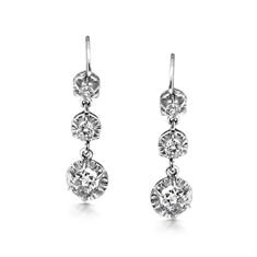 Trilogy Graduating Victorian Diamond Drop Earrings