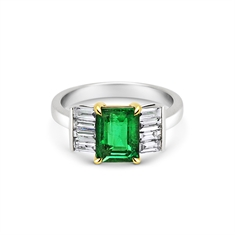 Octagon Emerald & Baguette Diamond Engagement Ring