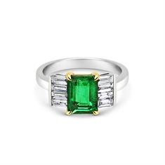 Octagon Emerald & Baguette Diamond Engagement Ring