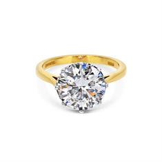 4.03ct I VVS1 Brilliant Cut Single Stone Engagement Ring With Diamond Set Collet
