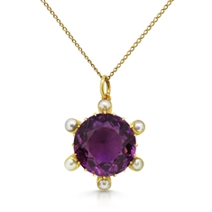 Round Amethyst & Pearl Pendant