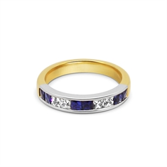 Channel Set French Cut Sapphire & Diamond Half Eternity Ring 18ct & Platinum