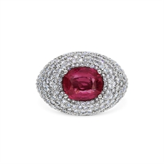 Oval Ruby & Pave Set Diamond Bombe Ring