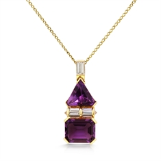 Fancy Shaped Amethyst & Baguette Diamond Pendant