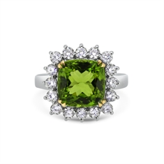Cushion Cut Peridot & Diamond Cluster Ring