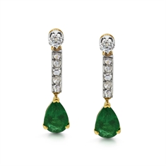 Emerald Pear Shape & Diamond Drop Earrings