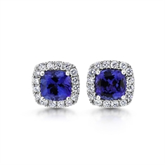 Cushion Cut Micro Set Tanzanite & Diamond Cluster Earrings