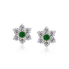 Emerald & Diamond Claw Set Flower Cluster Earrings