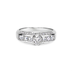 Oval Rub-Over Set Diamond Engagement Ring With Diamond Set Band