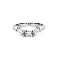 Baguette Cut Claw Set Shaped Wedding Band