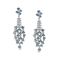 Aqua & Diamond Waterfall Drop Earrings