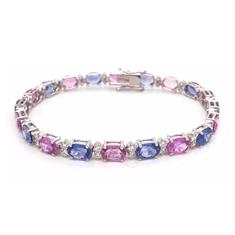 Oval Pink Sapphire & Blue Sapphire Diamond Accented Line Bracelet
