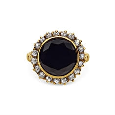 Round Black Diamond & Old Cut Period Cluster Ring
