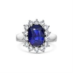 Cushion Cut Sapphire & Brilliant Cut Diamond Cluster Engagement Ring