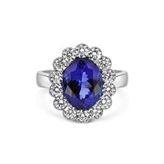 Oval Tanzanite & Diamond Cluster Ring With Millgrain Finish