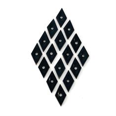 Black Onyx Diamond Shape Drilled Concave Centre 17 x 9mm