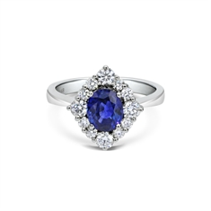 Oval Sapphire & Brilliant Cut Diamond Cluster