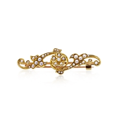 Victorian Seed Pearl 15ct Yellow Gold Bar Brooch