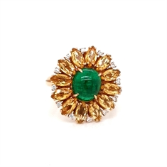 Emerald Oval Cabochon Yellow Sapphire & Diamond Cocktail Ring 2.73ct