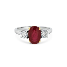 Three Stone Claw Set Ruby & Diamond Engagement Ring