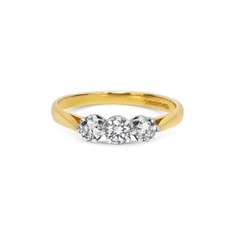 Brilliant Cut Claw Set Diamond Three Stone Ring 18ct Yellow & White Gold