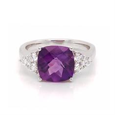Checkerboard Cushion Cut Amethyst & Diamond Dress Ring