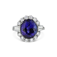 Tanzanite & Diamond Cluster With Tapered Baguettes