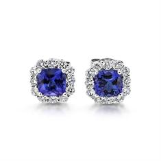 Cushion Cut Tanzanite & Diamond Cluster Earrings