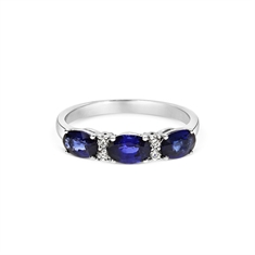 Sapphire Oval & Diamond Claw Set Half Eternity Ring