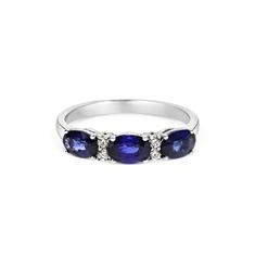 Sapphire Oval & Diamond Claw Set Half Eternity Ring